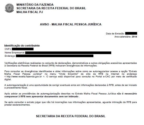 Receita Federal dá continuidade às ações de malha da Pessoa Jurídica