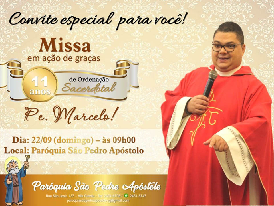 Paróquia de São Pedro em Garça convida para Solene Celebração Eucarística