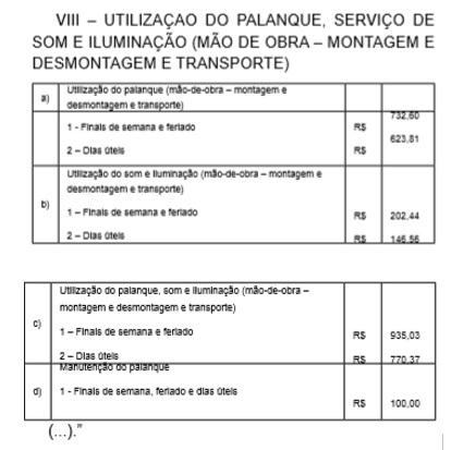Decreto altera valores sobre utilização de palanque, serviço de som e iluminação em Garça