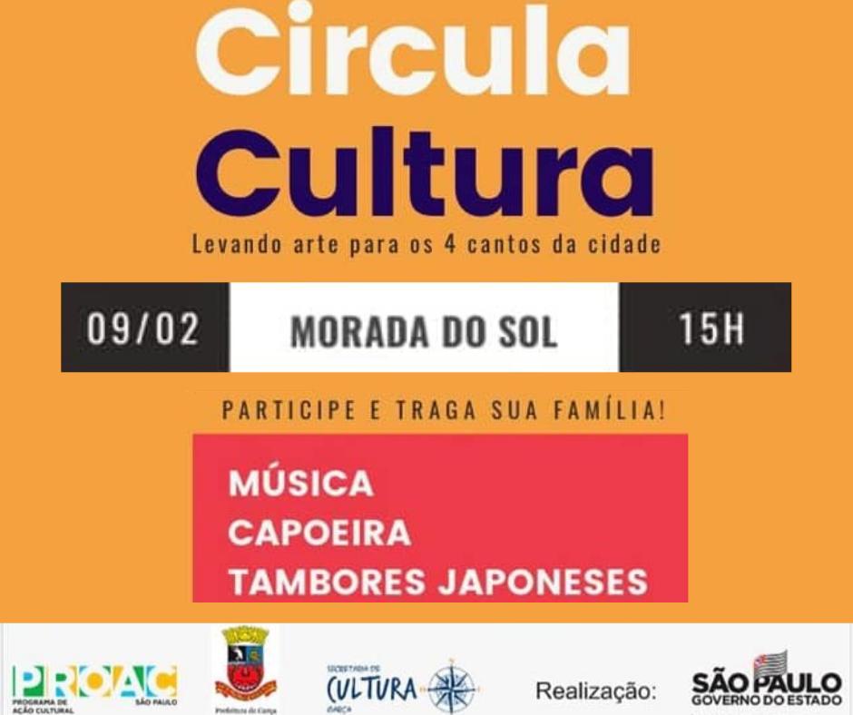 """""""Circula Cultura"""" será realizado no Bairro Morada do Sol em fevereiro"""